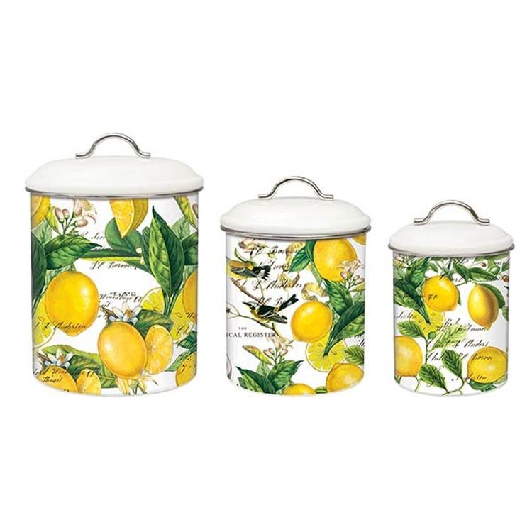 Lemon Basil Metal Canister Set