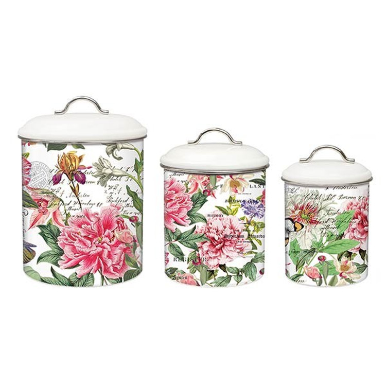 Peony Metal Canister Set