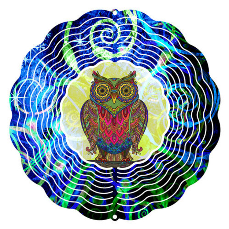 Kaleidoscope Wind Spinner Owl