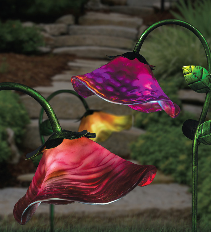 Solar Bell Flower Stake - Purple