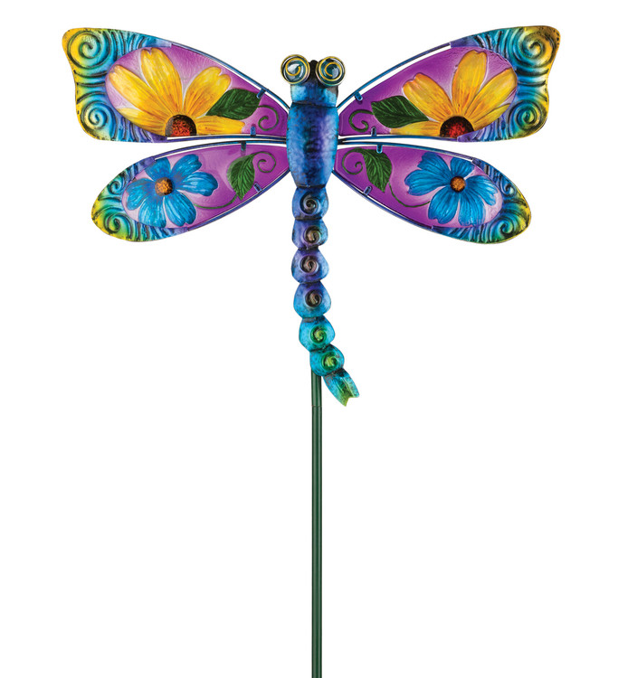 Floral Dragonfly Stake - Blue