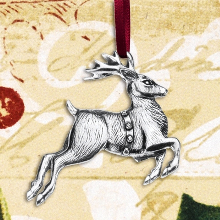 Reindeer Annual Pewter Ornament