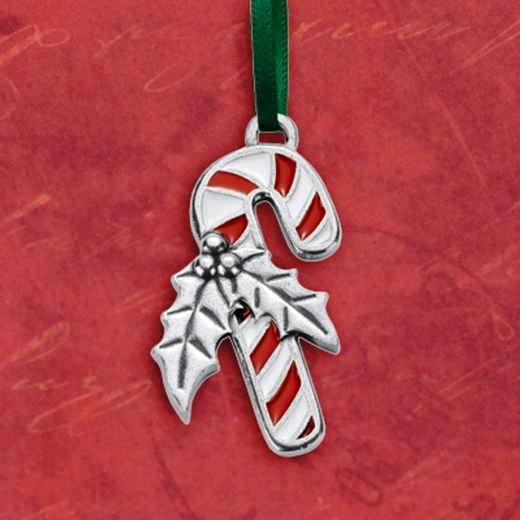 Candy Cane Pewter Ornament