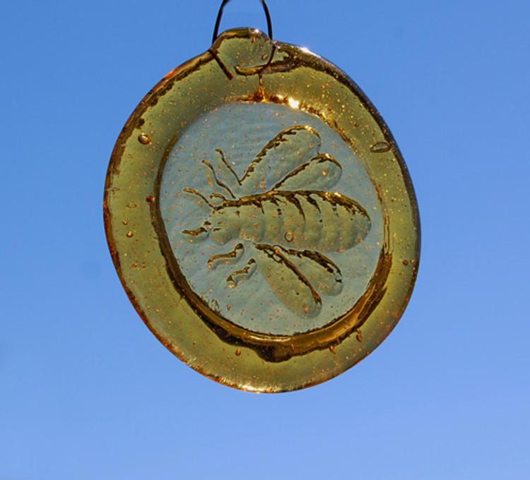 Handmade Glass Sun Catcher Coin Bee