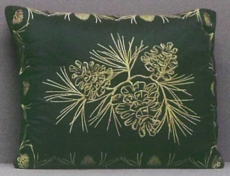 Green Silk Embroidered Balsam Fir Pillow