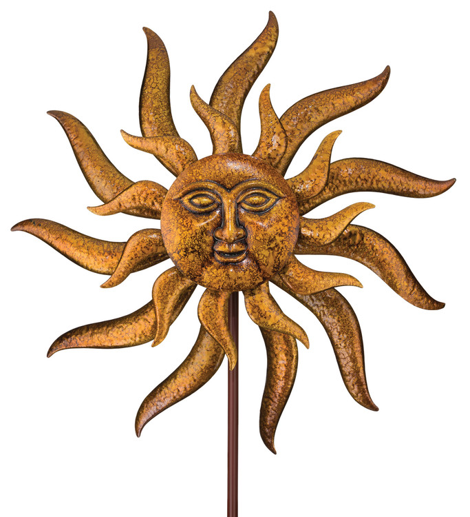 "Kinetic Wind Stake - 32"" Sun Face"