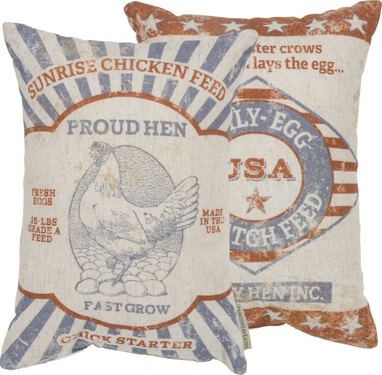 Feed Sack Pillow - Proud Hen