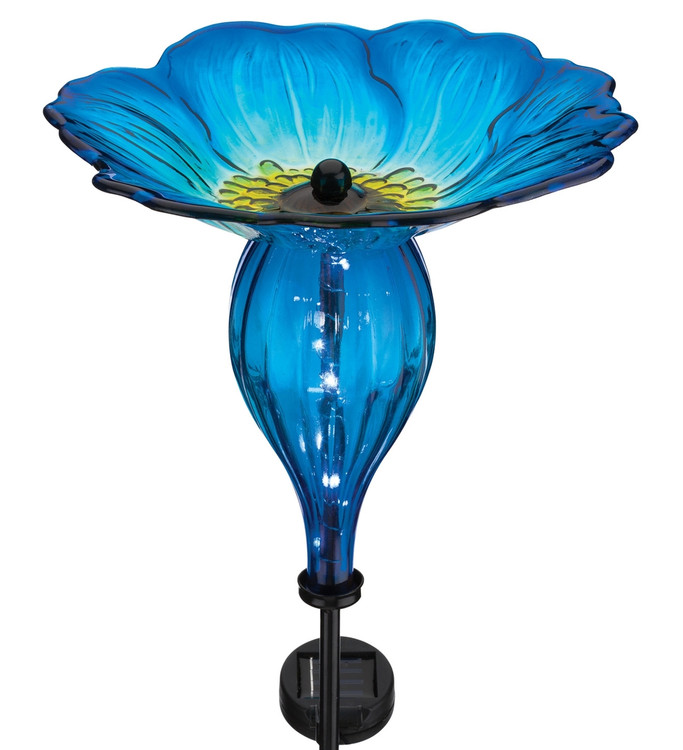 Solar Bird Feeder Stake - Blue Pansy