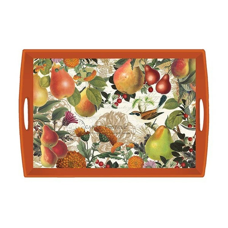 Golden Pear Decoupage Wooden Tra