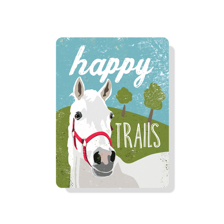 "Happy Horse Trails Sign 9"" x 12"" (Blue)"