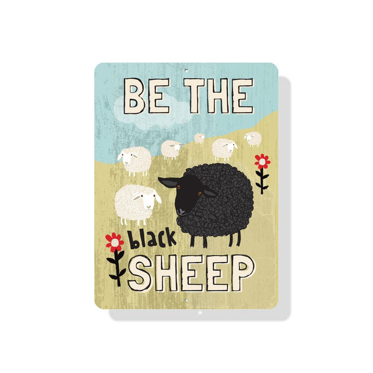 """Be The Black Sheep Sign 9"""" X 12"""" - Mineral Blue"""