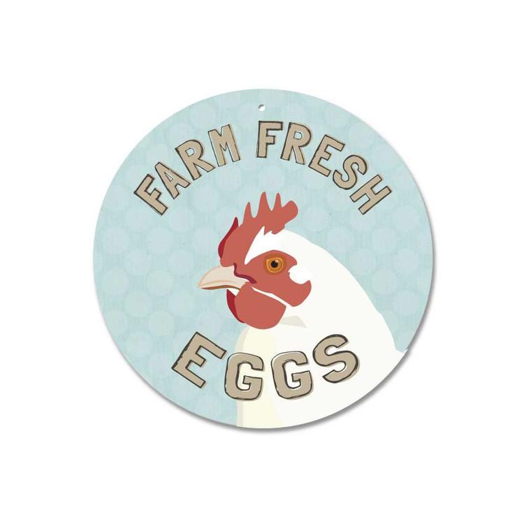"""Farm Fresh Eggs Sign 9"""" Round - Mineral Blue"""