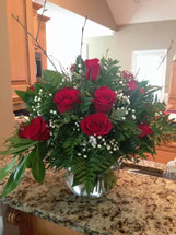 Dozen Roses in Fishbowl Vase