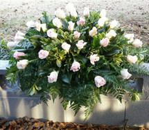 3 Dozen Rose Casket Spray with assorted Greenery and Accent Flowers. Any Color Available.