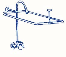 New Add On Shower for Clawfoot Tub includes Rectangular Shower Rod R2200A