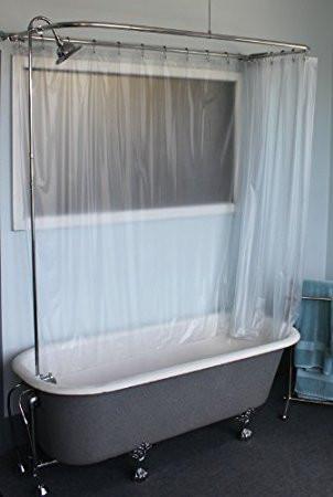 """Clawfoot Tub RX2300J-JUMBO Add-A-Shower Includes 60"""" D-Shower Rod with Shower Rings & JUMBO Showerhead (RX2300J)"""