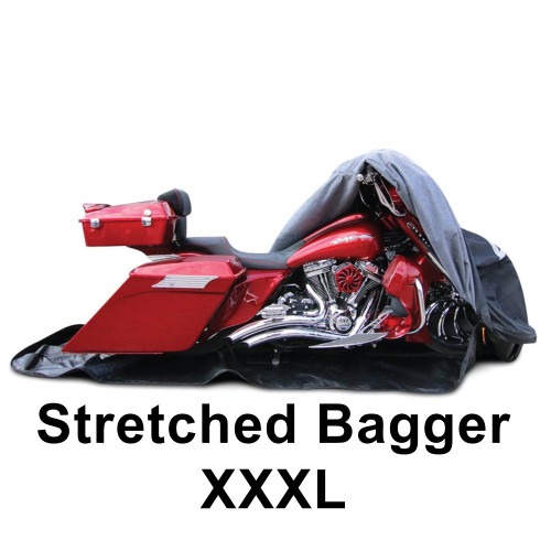"""Stretched Bagger cover  fits up to a 32"""" front wheel and 16"""" longer bags. Tour pack fits as well."""