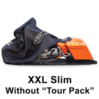 "XXL-Slim for extra large cruisers ""without"" a center rear tourpack. Fits models like the Harley Davidson Streetglide"