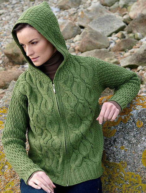 Women's Merino Wool Cable Knit Hoodie