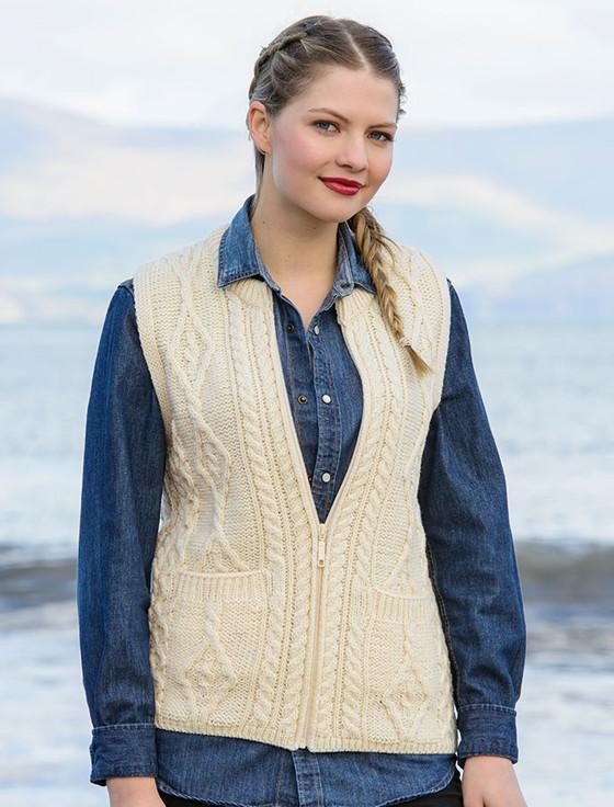 Women's Merino Wool Sleeveless Vest - Natural White