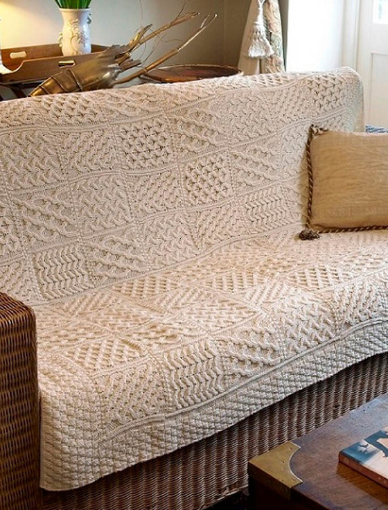 Aran Patchwork Merino Wool Throw