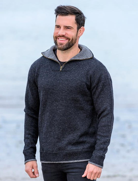 Mens Half Zip Sweater, Wool Sweater with Zip, Irish Wool Sweaters
