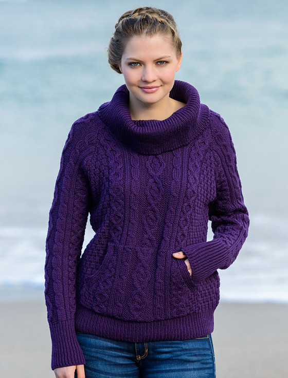 cable knit cowl neck sweater, cowl neck sweater women