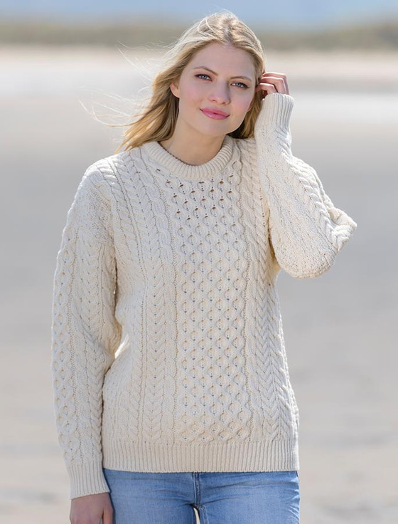 Merino Aran Sweater, Sweaters for Women, Irish Sweater