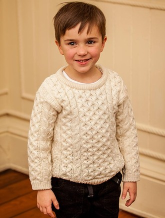 Kid's Traditional Aran Merino Wool Sweater