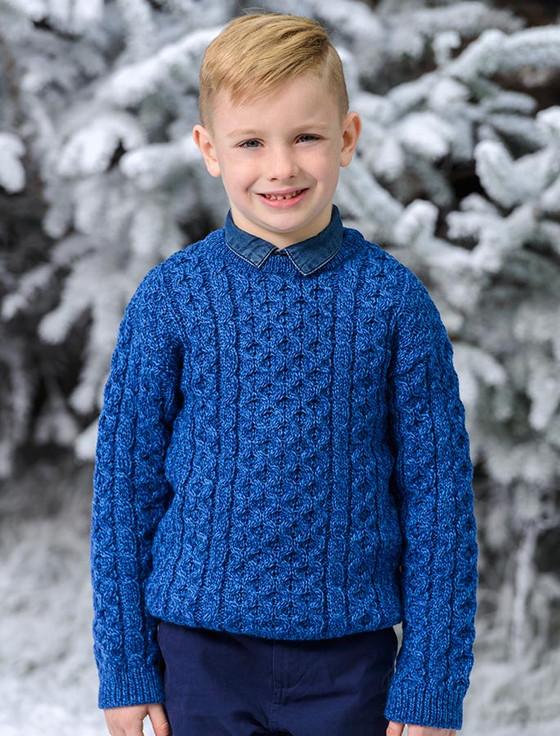 Kid's Traditional Aran Merino Wool Sweater - Blue