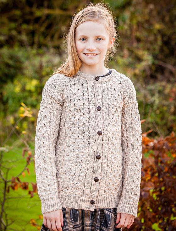 Kid's Traditional Aran Merino Wool Cardigan