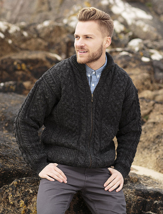 Free Knitting Pattern Mens Aran Cardigan : Mens Aran Zip Cable Knit Cardigan Aran Sweater Market