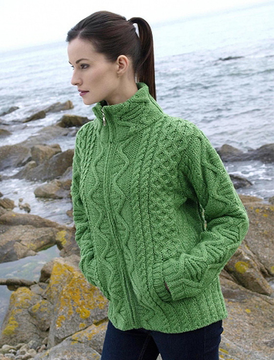 Aran Cardigan, Zip Up Cardigan Women | Irish Cardigan