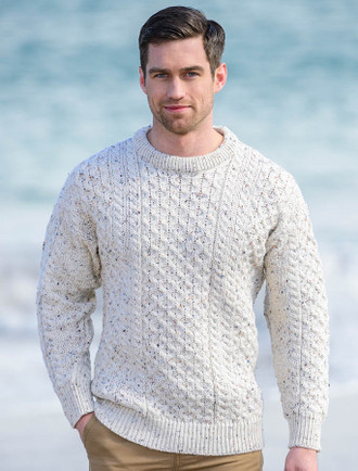 Mens Heavyweight Traditional Aran Wool Sweater - White Fleck