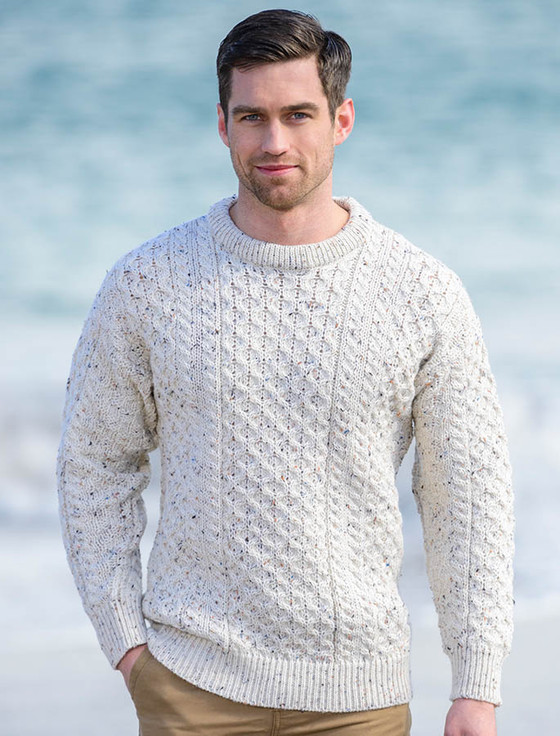 About Sweaters for Men Sometimes referred to as a fisherman sweater, the Aran sweater takes its name from the Aran Island off the west coast of Ireland. This form of Irish knitwear is distinguishable by complex texture stitch patterns such as tree of life, cable, moss and basket.