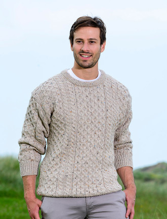 Mens Heavyweight Traditional Aran Wool Sweater