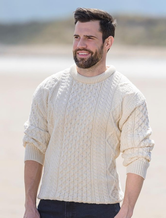 ddd92b277a792 Lightweight Traditional Aran Mens Wool Sweater