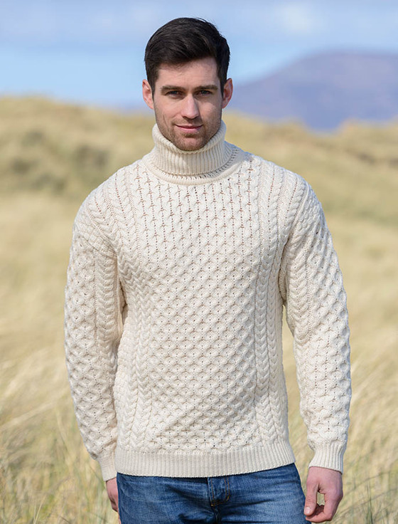 Mens Wool Turtleneck Sweater , Natural White