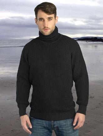 Fisherman's Ribbed Wool Turtleneck Sweater - Charcoal