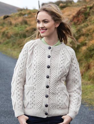 Premium Handknit Merino Lumber Jacket -Honey Oat