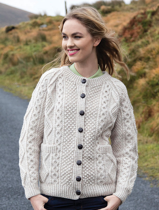 Hand Knitted Cardigans Cable Knit Cardigans Women Ladies