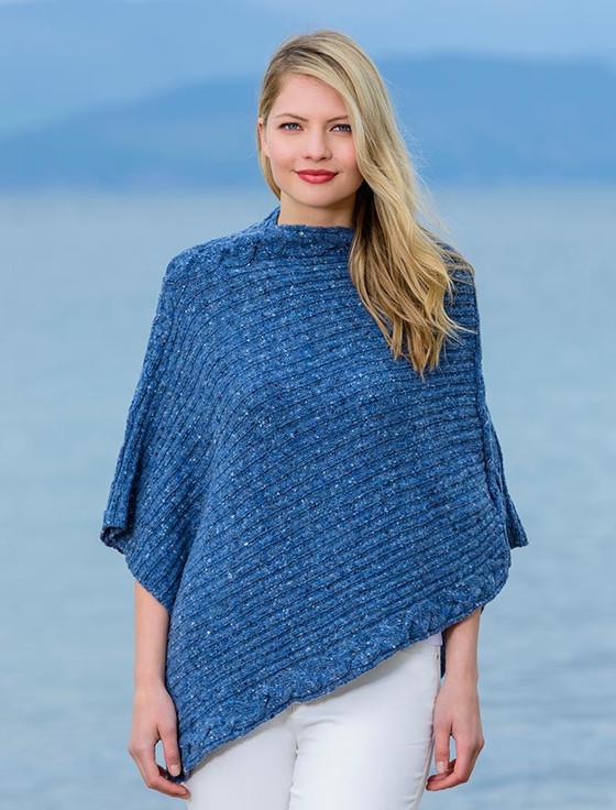 Women's Merino Wool Cable Poncho - Denim
