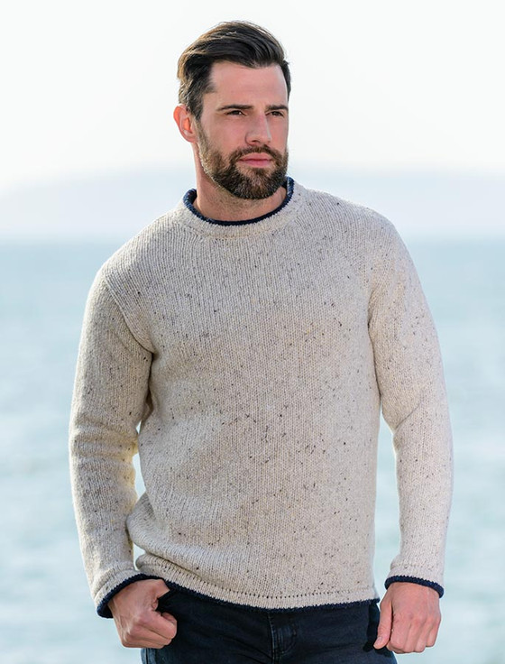Wool Cashmere Crew Neck Sweater - Chalk