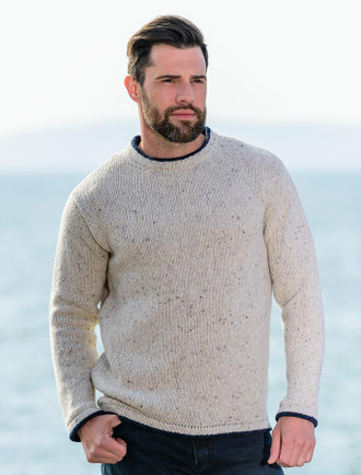 Wool & Cashmere Crew Neck Sweater - Chalk