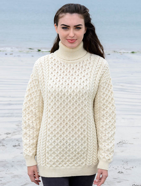 Oversized turtleneck sweater, oversized cable knit sweater | Aran ...