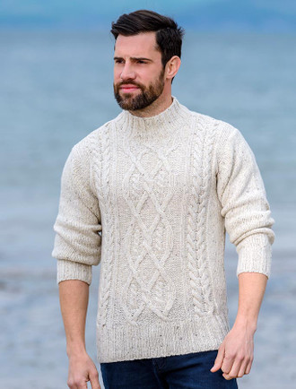 Luxury Aran Mock Turtleneck Sweater - Chalk