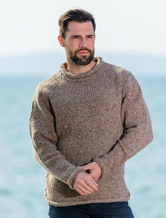 Roll Neck Sweater - Fisherman Sweater - Honey