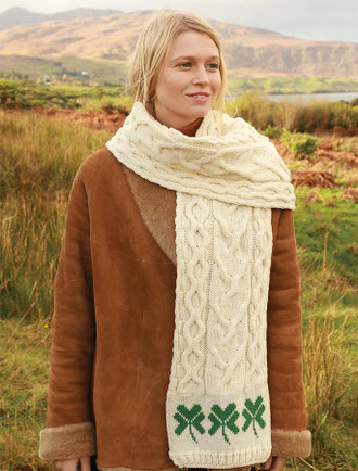 Three Shamrocks Merino Scarf - Natural White