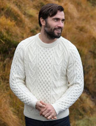 Mens Handknit Honeycomb Stitch Sweater - Natural White