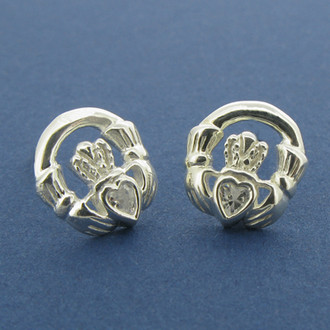 Claddagh Stud Earrings with Stone